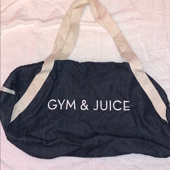 Denim and canvas gym bag